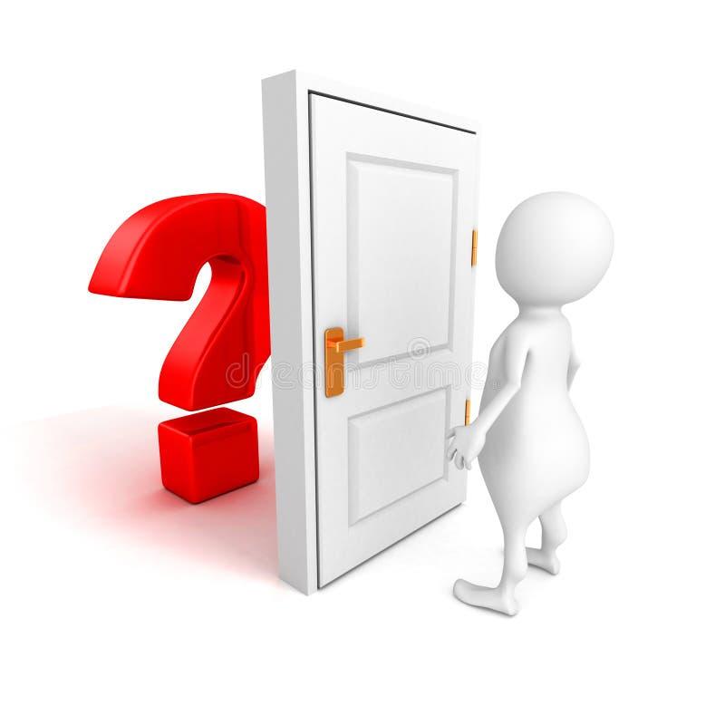 hombre 3d con el signo de interrogación rojo detrás de la puerta ilustración del vector