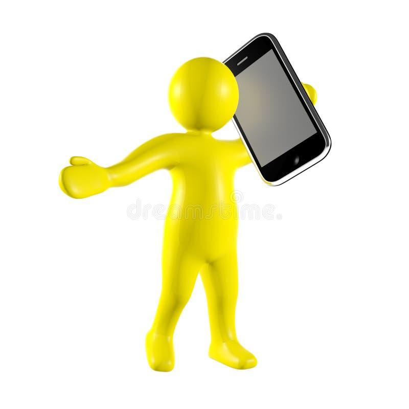 hombre 3d con el teléfono elegante libre illustration