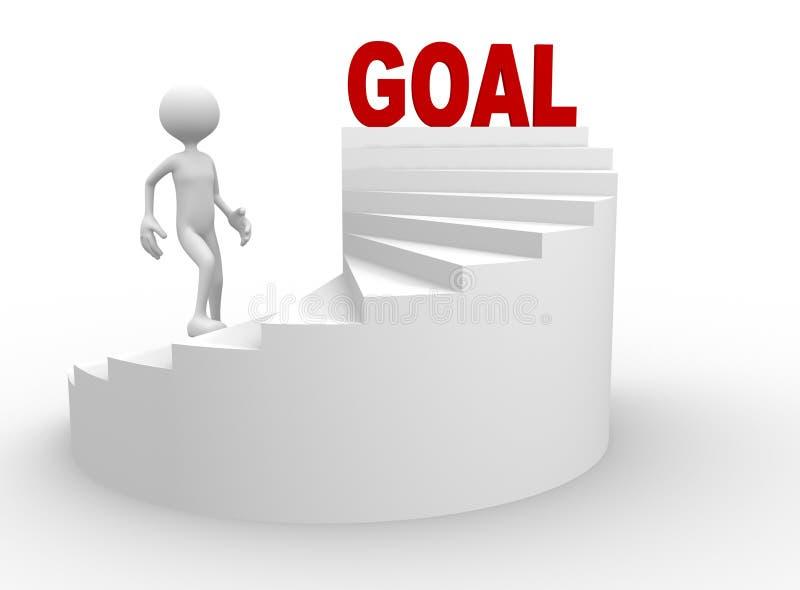hombre 3d con la escalera y la meta de la palabra ilustración del vector