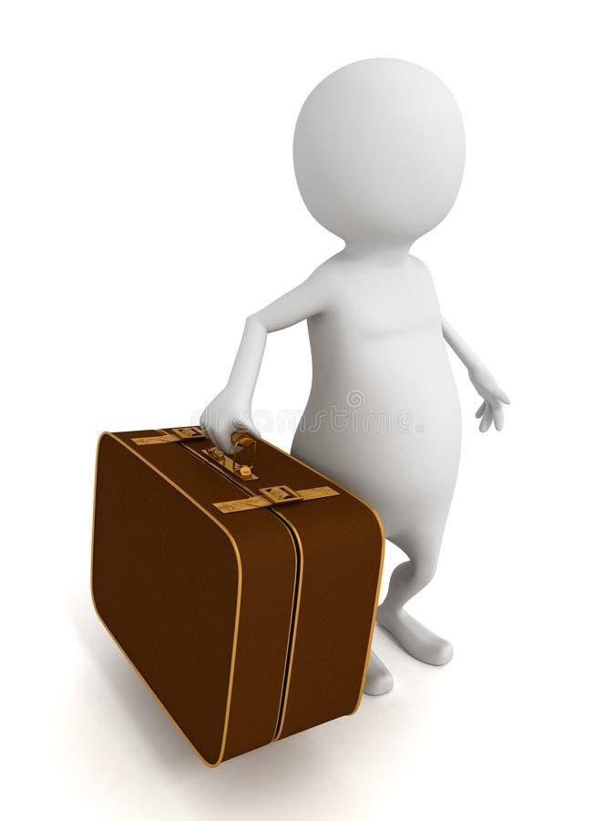 hombre 3d con la maleta retra grande pesada del vintage libre illustration