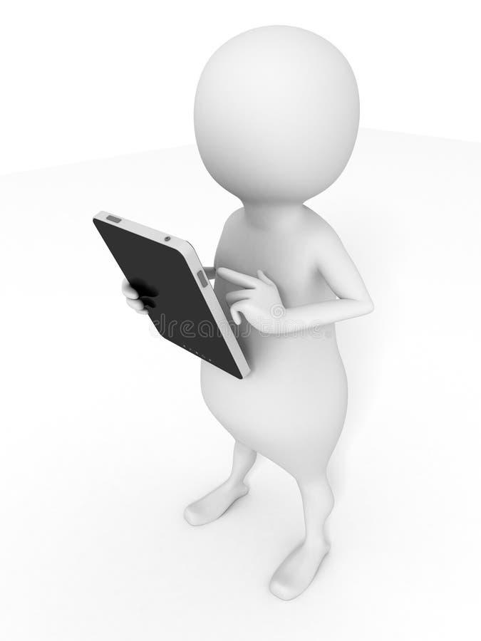 hombre 3d con la tableta negra de la PC en el fondo blanco stock de ilustración