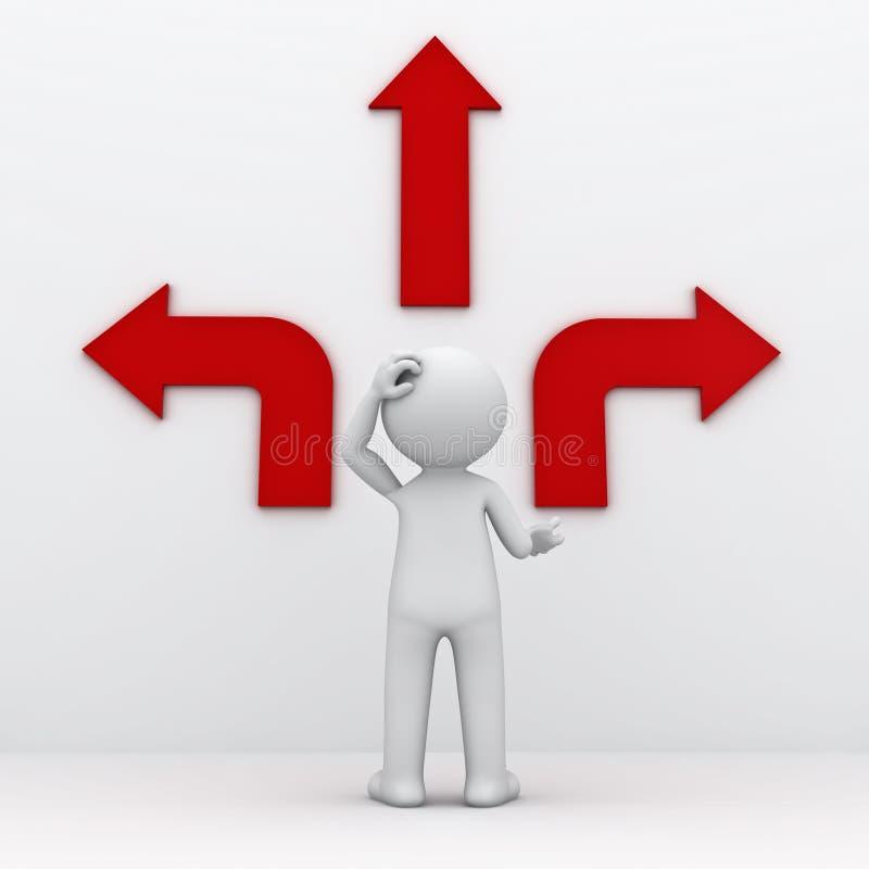 hombre 3d con las flechas rojas tres maneras diferentes stock de ilustración