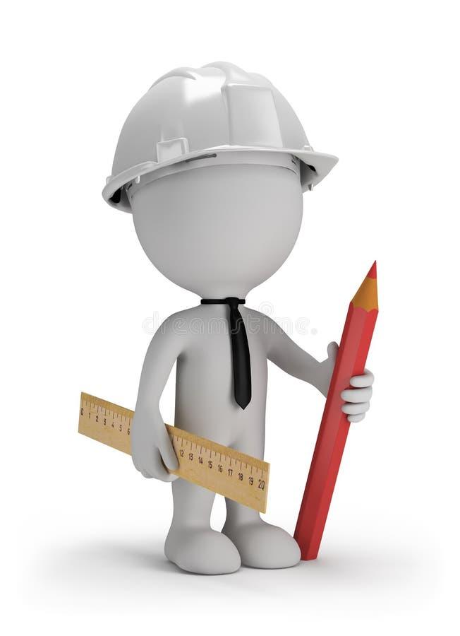 hombre 3D con un lápiz stock de ilustración