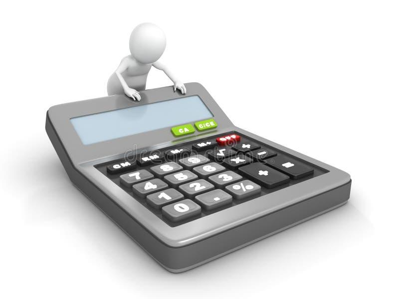 hombre 3d con una calculadora clásica de la oficina ilustración del vector
