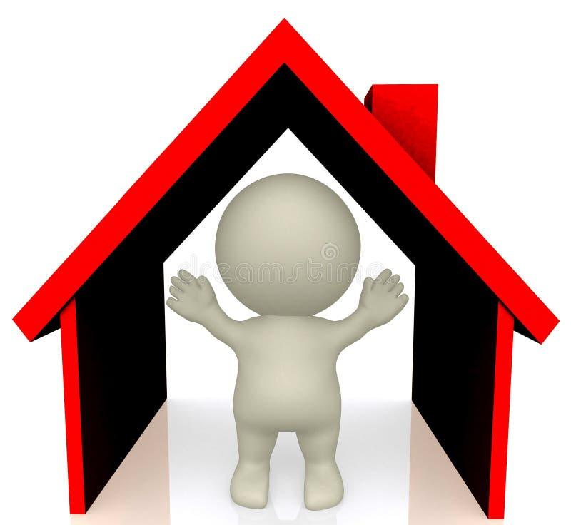 hombre 3D dentro de una casa sobre blanco libre illustration