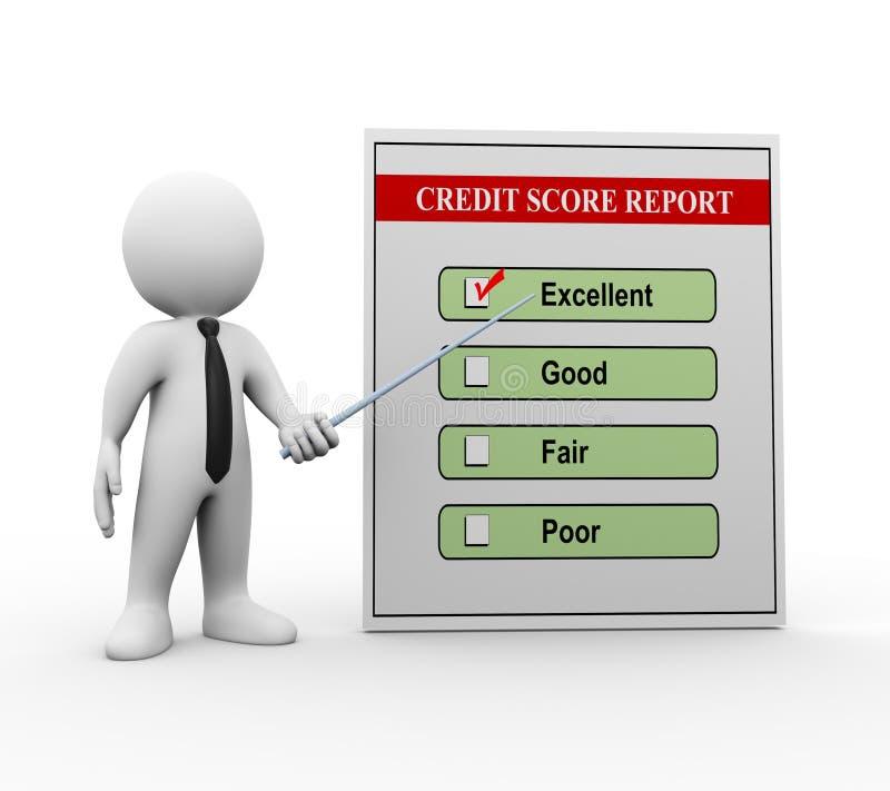 hombre 3d e informe de la cuenta de crédito libre illustration