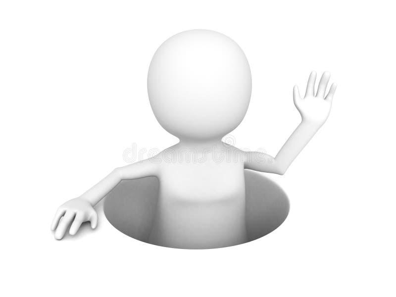 hombre 3D haciendo estallar hacia fuera de un agujero stock de ilustración