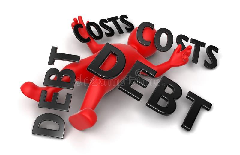 hombre 3d machacado por la deuda y los costes (trayectoria del concepto de recortes incluida) ilustración del vector