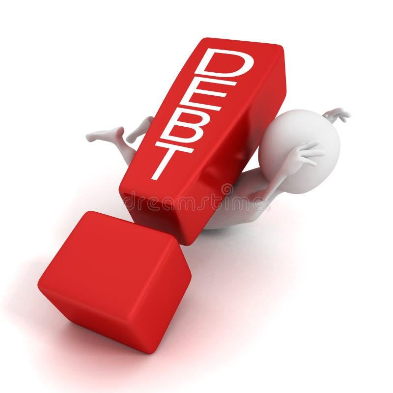 hombre 3d machacado por la marca de exclamación roja de la deuda del concepto stock de ilustración