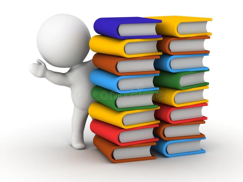 hombre 3D que agita de detrás pilas de libros stock de ilustración