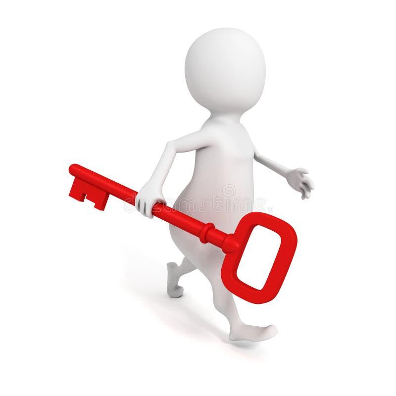 Download Hombre 3D Que Camina Adelante Con Llave Roja Stock de ilustración - Ilustración de acceso, varón: 42444456
