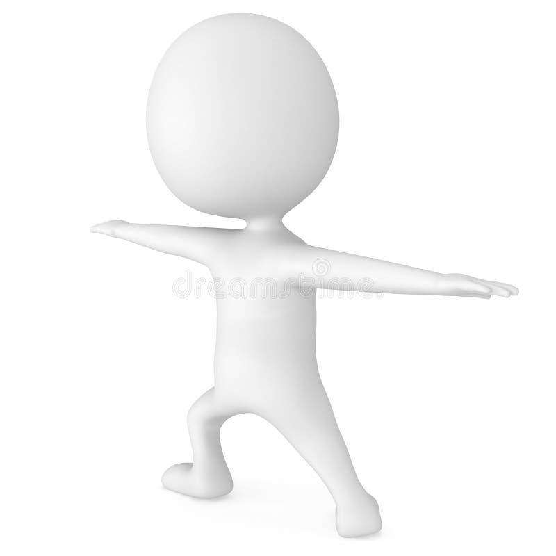 hombre 3d que hace ejercicio de la yoga stock de ilustración