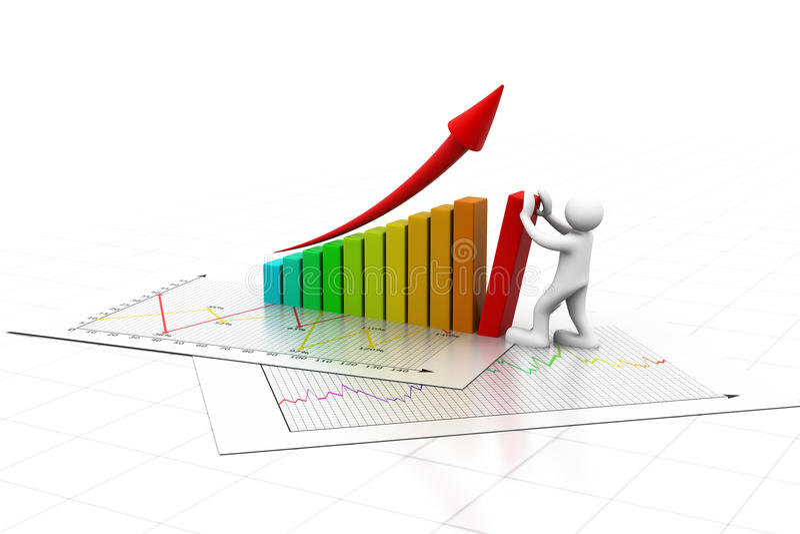 hombre 3d que hace el gráfico de negocio stock de ilustración