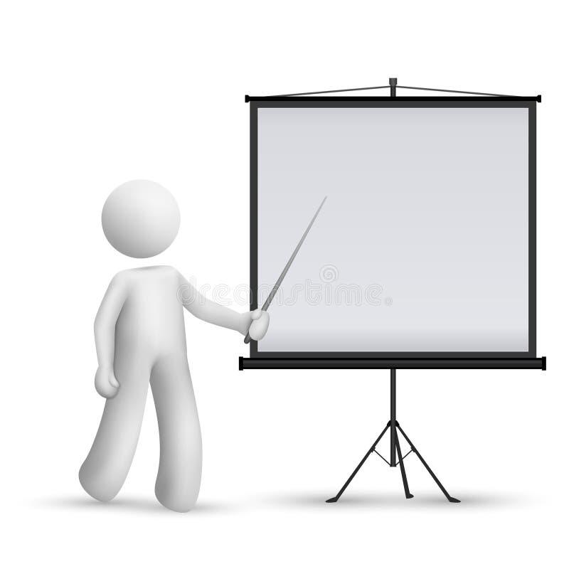 hombre 3d que introduce algo en un proyector libre illustration
