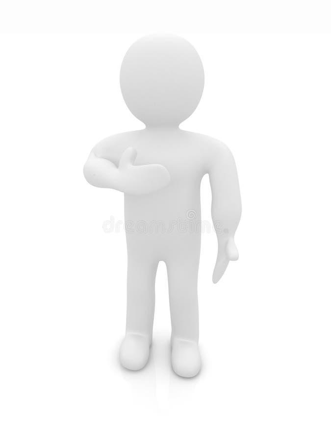 hombre 3d que le muestra la gratitud sentida que lleva a cabo su mano stock de ilustración