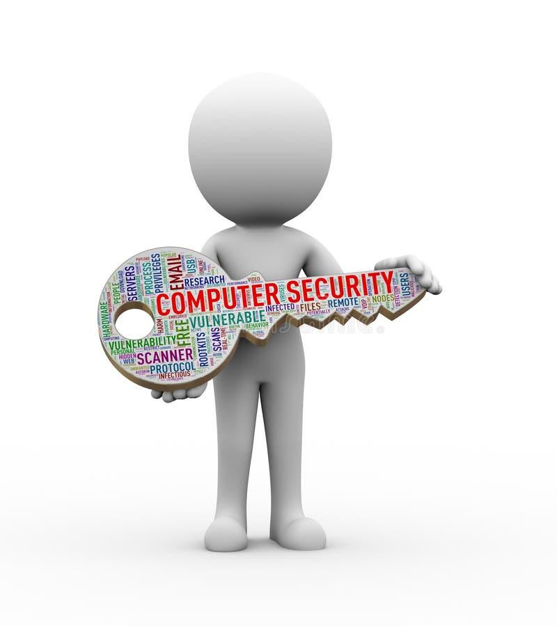 hombre 3d que lleva a cabo el wordcloud dominante de la seguridad informática stock de ilustración