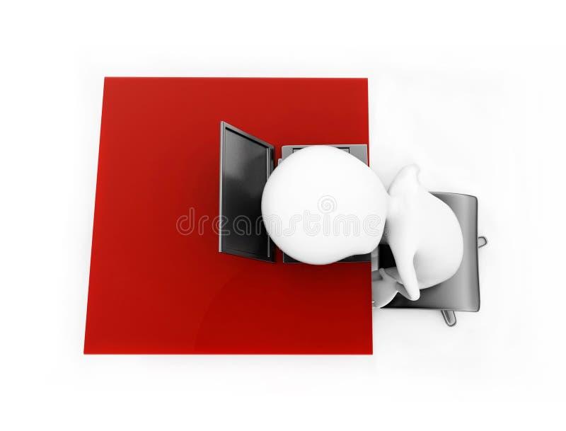 hombre 3d que miente su cabeza sobre el ordenador portátil que se coloca sobre un escritorio co libre illustration