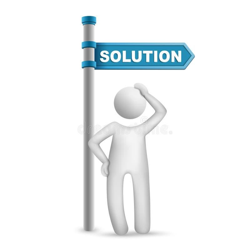 hombre 3d que piensa con la solución direccional de la muestra y de la palabra stock de ilustración