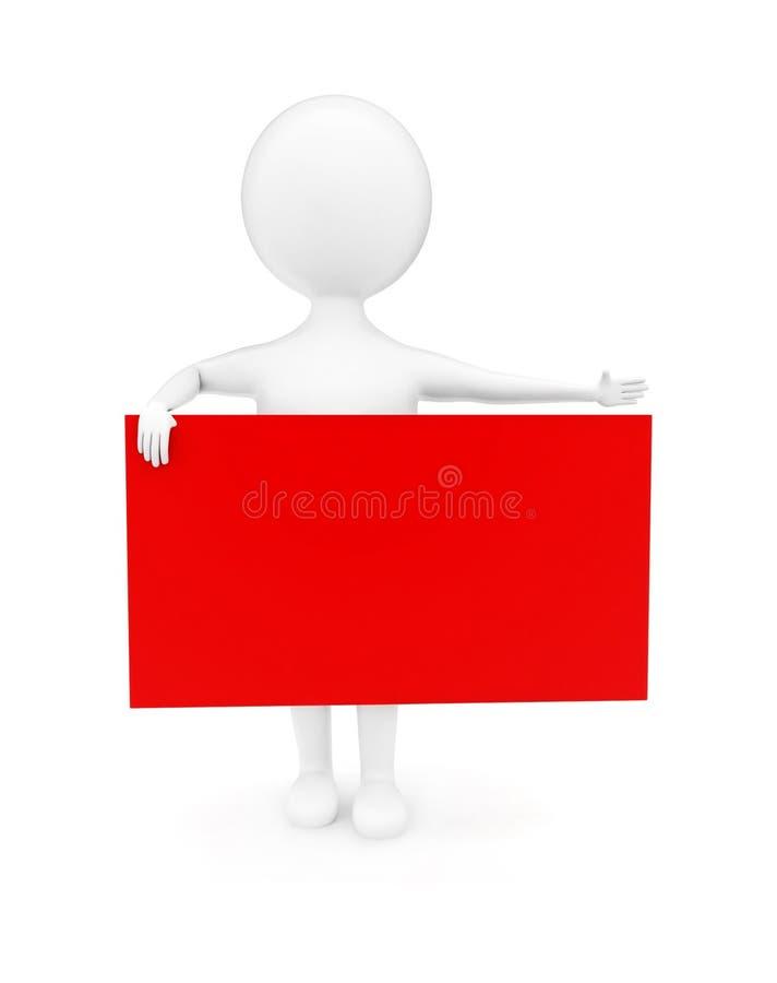 hombre 3d que señala sus manos hacia una dirección y que lleva a cabo un concepto de la bandera libre illustration