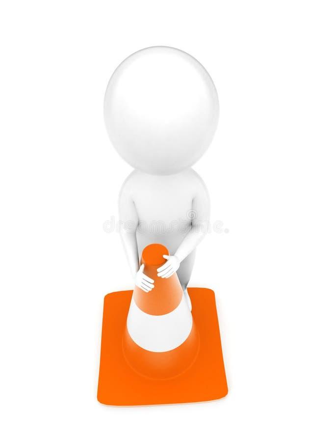 hombre 3d que se coloca al lado de un concepto del cono del tráfico stock de ilustración