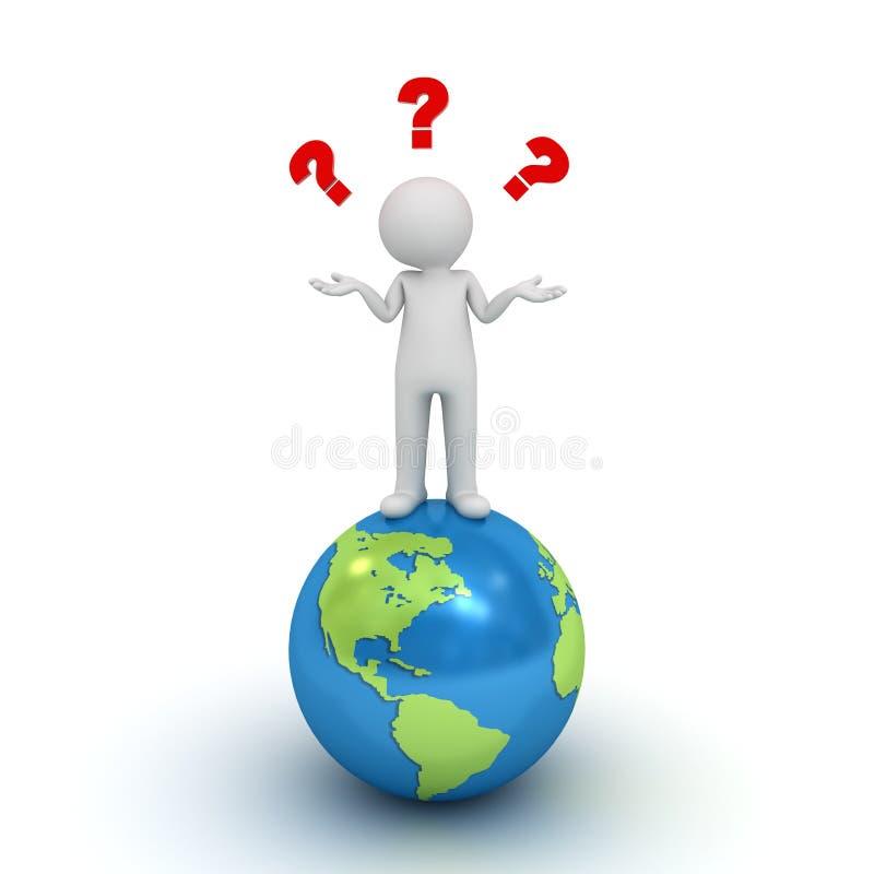 hombre 3d que se coloca en el globo azul y que no tiene ninguna idea con los signos de interrogación rojos ilustración del vector