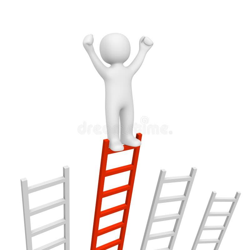 hombre 3d que se coloca en el top de la escalera más larga y que levanta las manos libre illustration