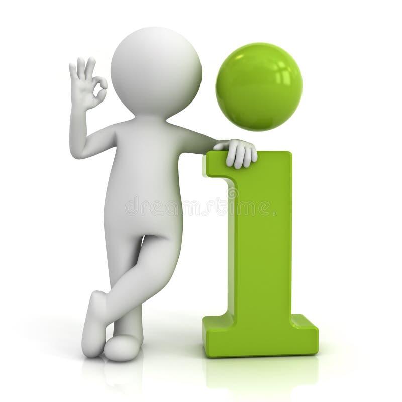 hombre 3d que se inclina en icono verde de la información y que muestra gesto de mano aceptable ilustración del vector