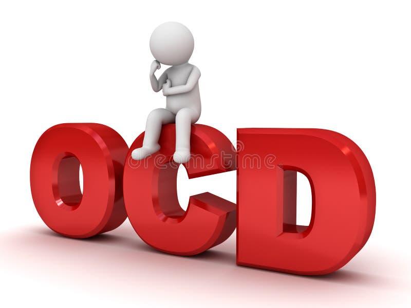 hombre 3d que se sienta en el texto rojo del ocd o el desorden obsesivo stock de ilustración