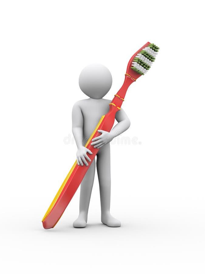 hombre 3d que sostiene el cepillo de dientes grande ilustración del vector