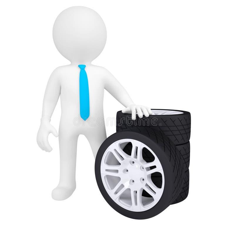 hombre 3D que sostiene una rueda de coche ilustración del vector