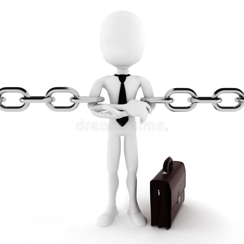 hombre 3d y cadena, concepto del negocio ilustración del vector