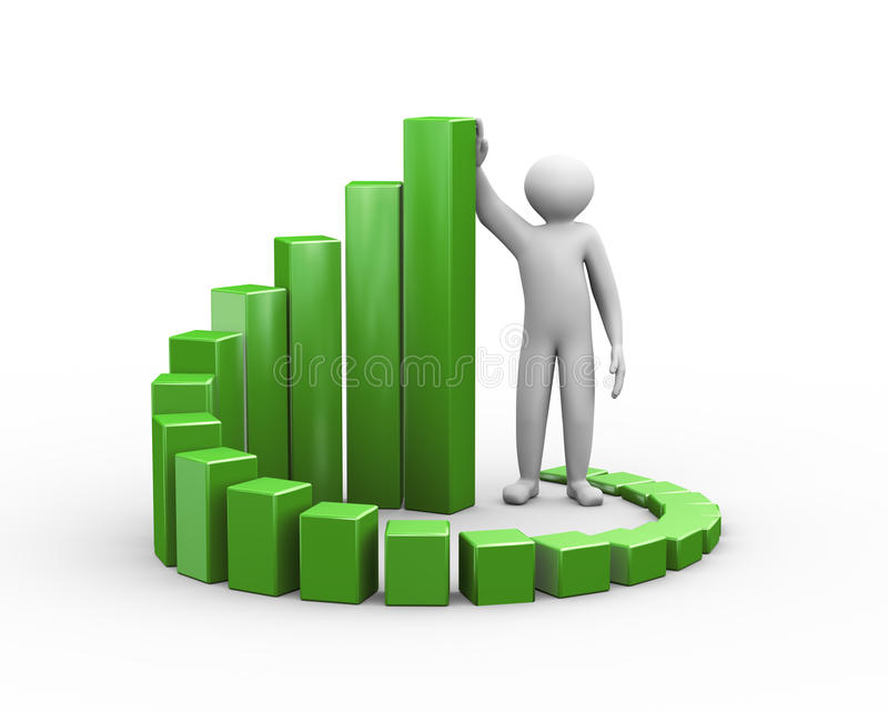 hombre 3d y carta de negocio del crecimiento del progreso ilustración del vector