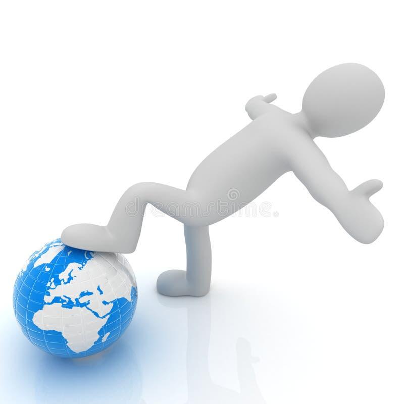 hombre 3d y tierra Concepto del negocio global: la tierra entera en mi stock de ilustración