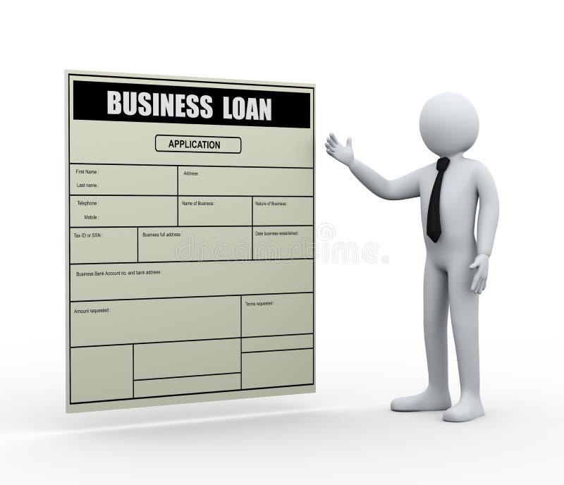 hombre 3d y uso de préstamo empresarial stock de ilustración