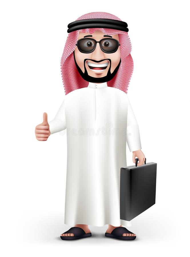 hombre de Arabia Saudita hermoso 3D en vestido tradicional stock de ilustración