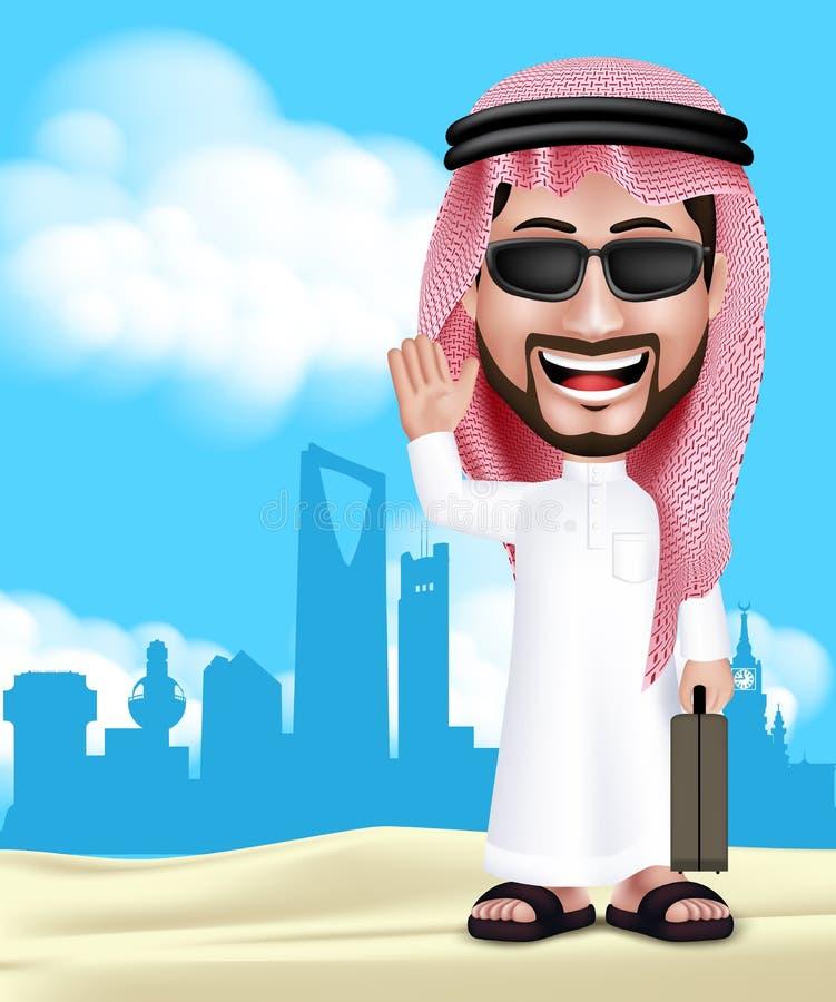 Hombre de Arabia Saudita hermoso realista 3D que lleva Thobe ilustración del vector