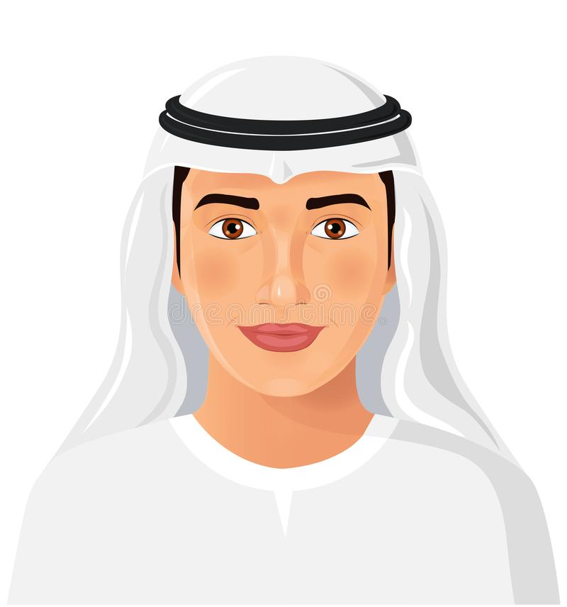 Hombre de Arabia Saudita joven hermoso en aislante musulmán tradicional del sombrero stock de ilustración