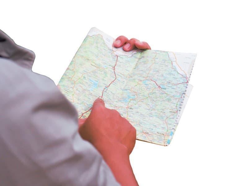 Hombre de Asia que se coloca con el mapa imágenes de archivo libres de regalías