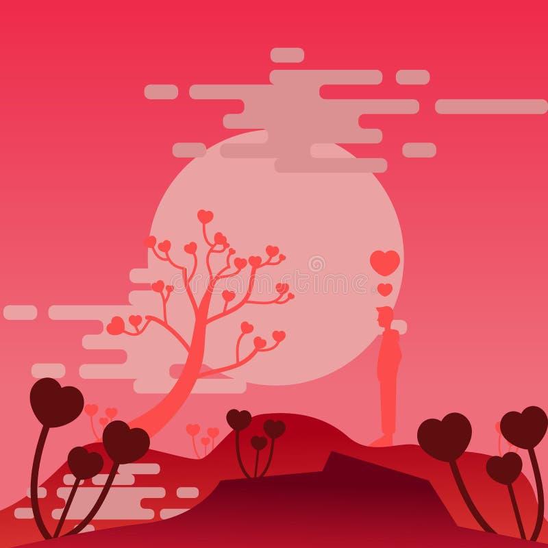 Hombre de Bacground en amor del allone ilustración del vector