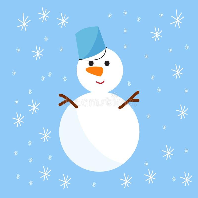 Hombre de blanco puro frío de la estación de la Navidad del muñeco de nieve en el ejemplo del vector de la tarjeta del día de fie stock de ilustración
