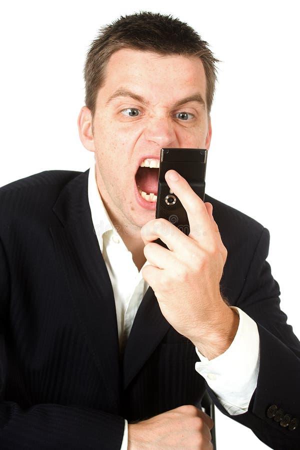 Hombre de Busniss que grita imagenes de archivo