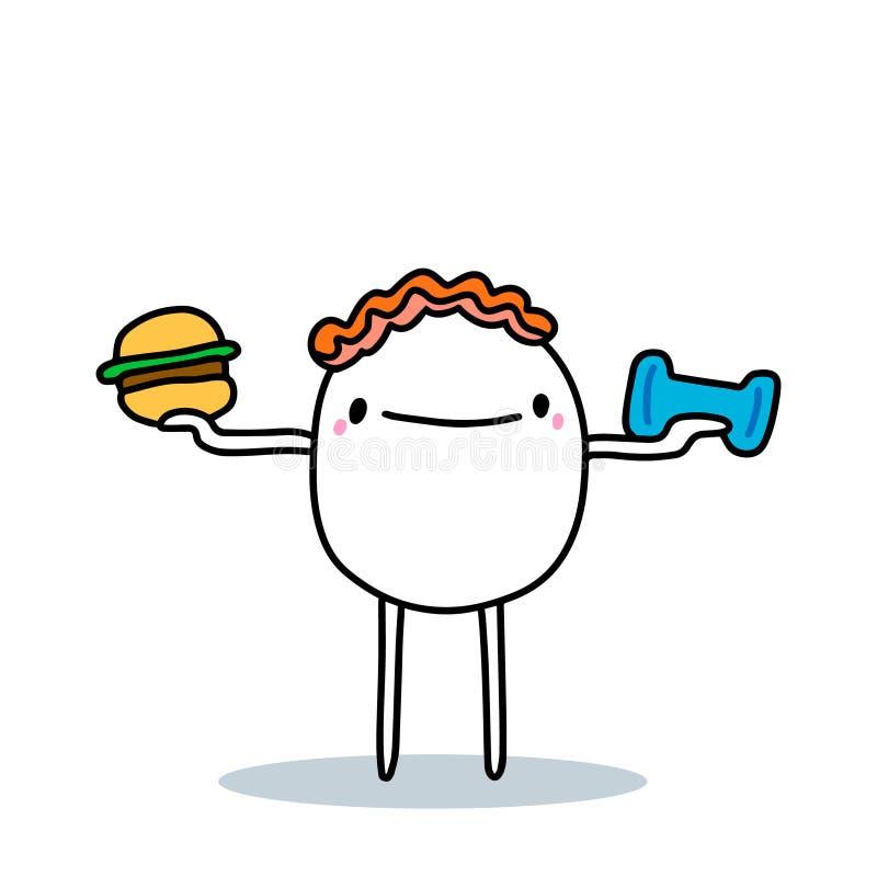 Hombre de caricatura eligiendo entre la hamburguesa de comida chatarra y el fitness en el gimnasio ilustración vectorial dibujada libre illustration