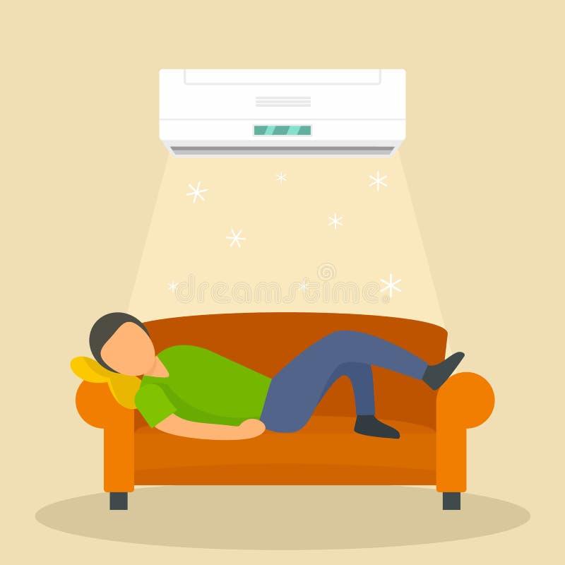 Hombre de condicionamiento en el fondo del sofá, estilo plano ilustración del vector