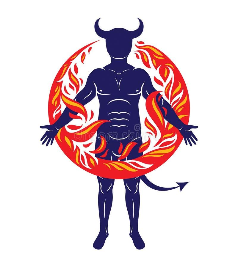 Hombre de cuernos atlético rodeado por una bola de fuego Vector Illustratio stock de ilustración