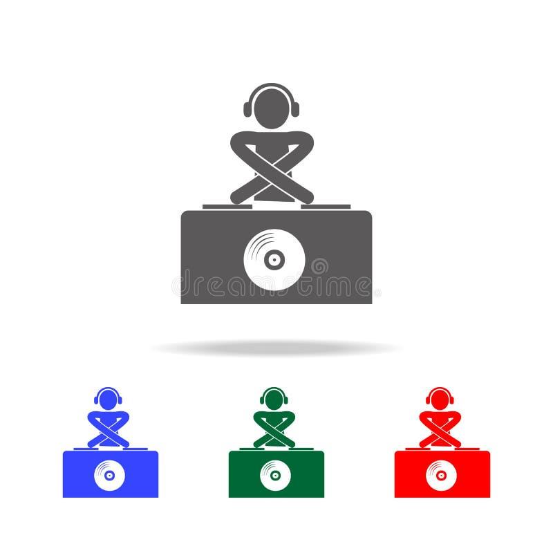 Hombre de DJ en auriculares en el icono de la estación de DJ Elementos del disco y de los iconos coloreados multi de la vida de n libre illustration