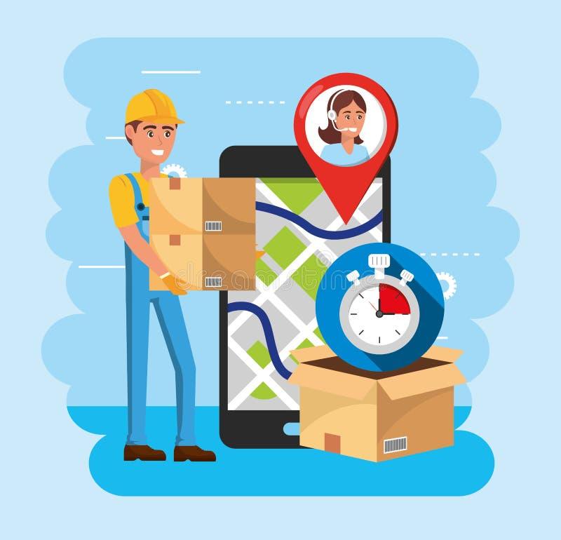 Hombre de entrega con las cajas y smartphone con la ubicación del mapa y el servicio del centro de atención telefónica libre illustration