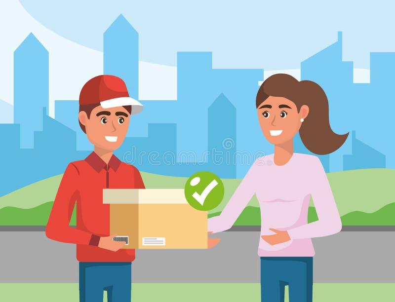 Hombre de entrega con servicio de distribución de la caja a una mujer stock de ilustración