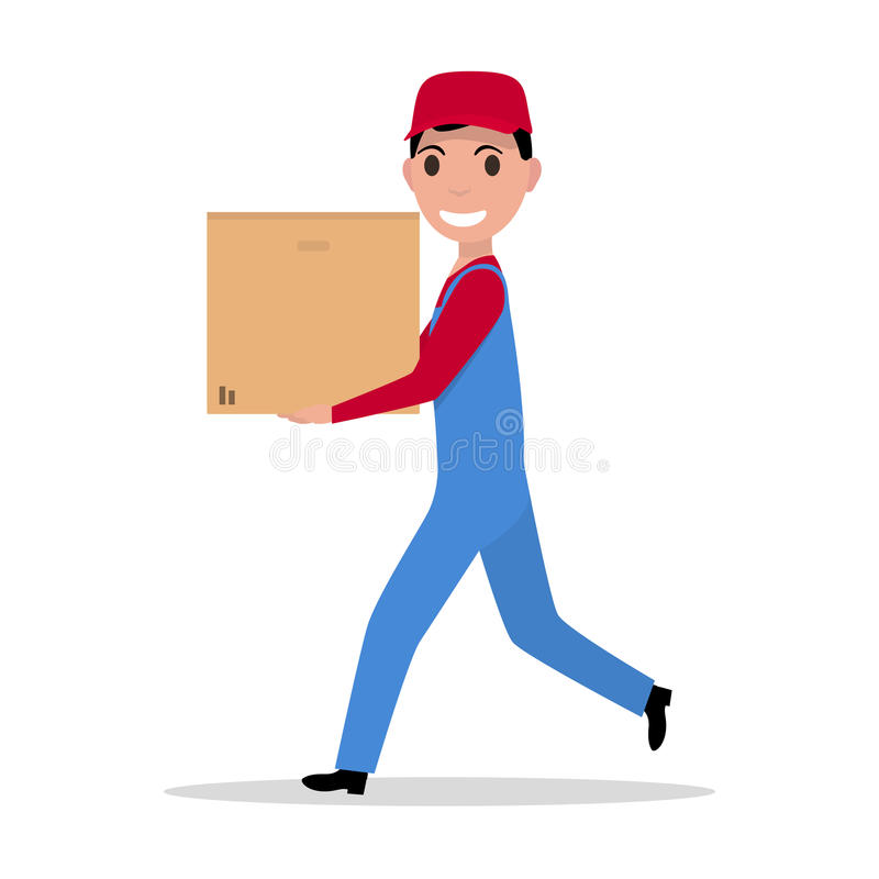 Hombre de entrega de la historieta del vector con la caja de cartón libre illustration