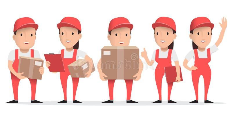 Hombre de entrega del carácter en uniforme del rojo con la caja de cartón ilustración del vector