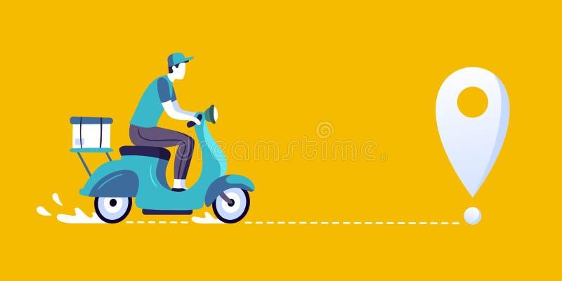 Hombre de entrega en la vespa Mensajero de las entregas de la comida, entregando en el ejemplo del vector de la bici de la ciudad ilustración del vector